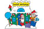 Santa's workshop yard art pattern provides a fun and colorful Christmas decoration the whole family will love
