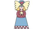 Folk angel yard art pattern providesa country style Christmas decoration