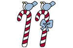 Peppermint candy canes have cute bluebirds sitting on top of them