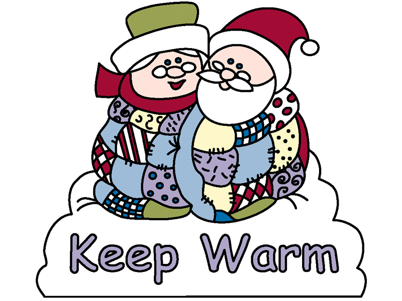 Keep warm yard art pattern has a snuggly Santa and Mrs. Claus in blankets