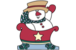 The snowman in sleigh uses a country style color pallette