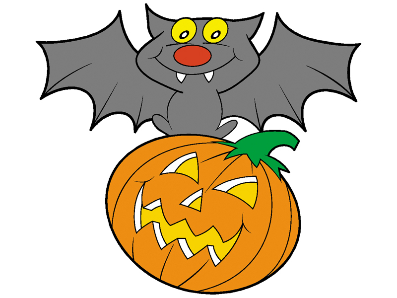 Tudor Plan Front of Home Bat Atop Pumpkin