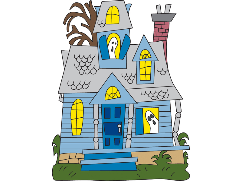 This fun and colorful ghost house is the perfect addition to your Halloween backyard display