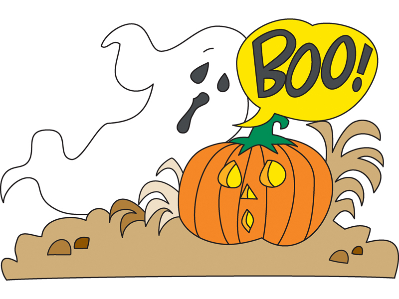 Boo pumpkin incorprates the holiday's favorite symbols