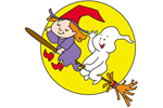 Witch and ghost on broom with large moon behind