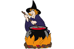 Witch with pot is a scary decoration for your backyard at Halloween