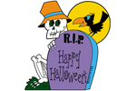 Skeleton with tombstone is a cute and fun Halloween yard art pattern