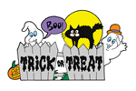The trick or treat fence is a fun and festive Halloween decoration