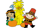 This terrific Fall scene includes an American Indian and Pilgrim making it perfect through the Fall and Thanksgiving