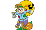 Cute and colorful screcrow is a great country style Halloween decoration