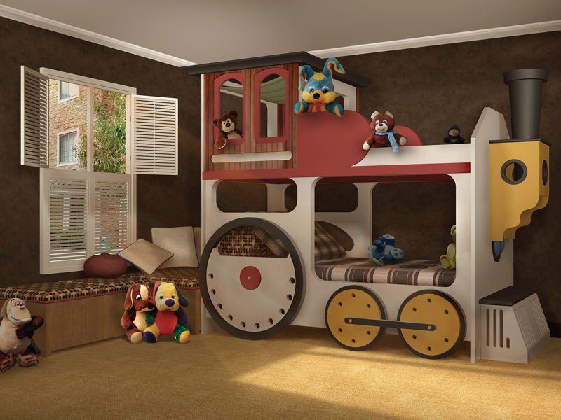 Luxury Plan Front of Home Locomotive Bunk Bed