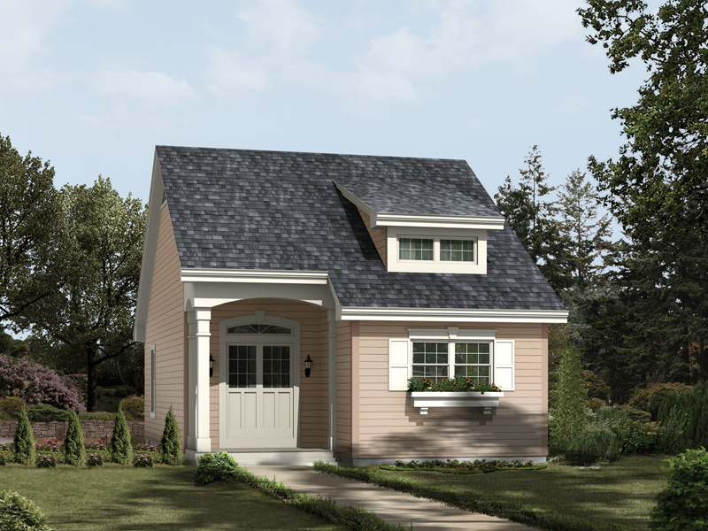 This two-car garage apartment is all on one-story and has the appearance of a cottage style home plan