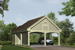 Two-car carport has a corner storage area for convenience