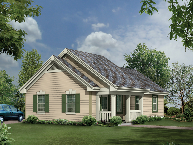 This is a four-car garage that looks like a quaint cottage style home plan on all one-story