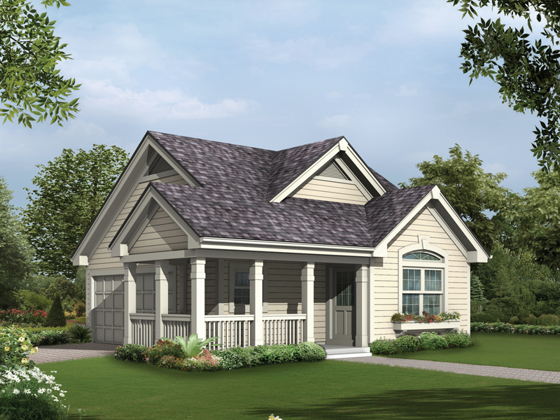 A wrap-around covered porch and window box give this two-car garage the style of a home plan