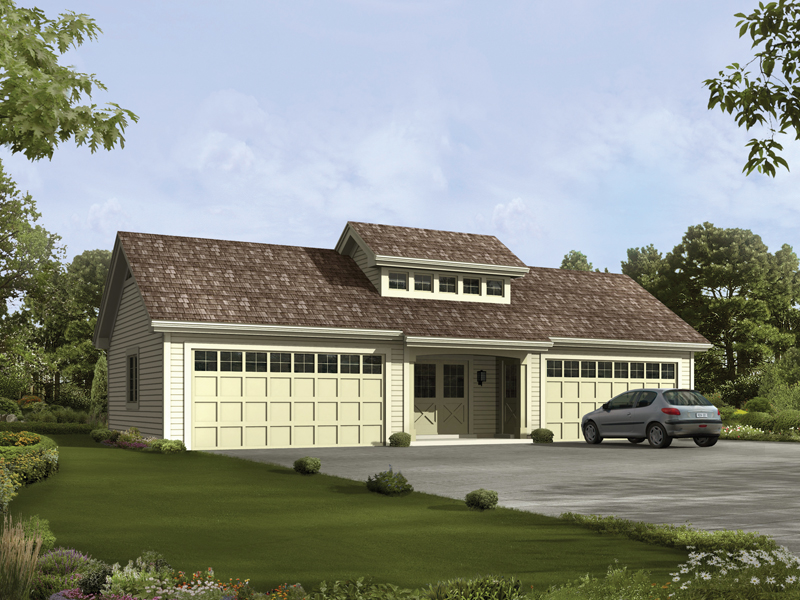 Four-car garage has center celerestory window on the roof and center double door