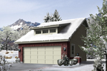Two-car garage has steep roof pitch and a center celerestory window