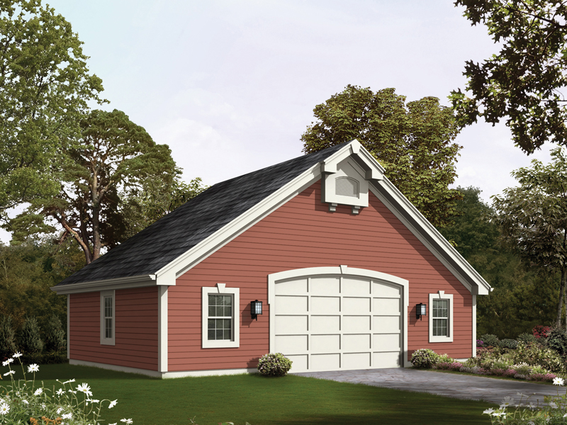 Country style two-car garage with lots of windows and plenty of storage space