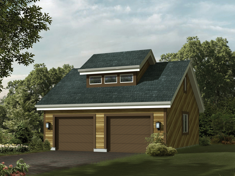 Rustic style two-car garage has a center celerestory window on the roof