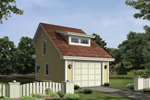 One-car garage with clerestory window on roof is perfect for a narrow lot