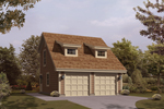 Two-car garage has simple dormers style windows on the roof