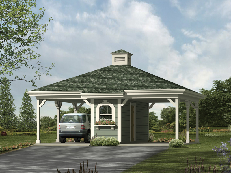Two-car carport with roof cupola has center storage areas as a divider