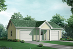 Two-car garage has a covered front porch and interior space