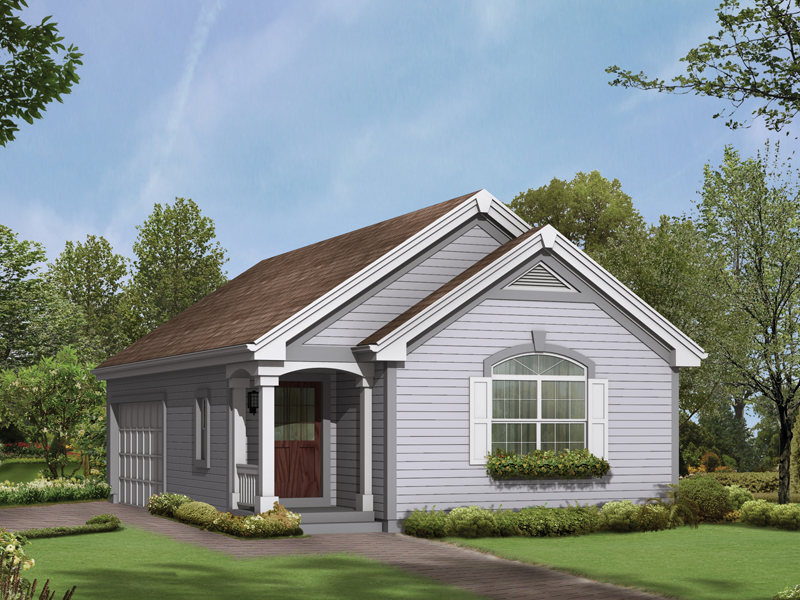 Two-car garage has the look of a home on the outside with a covered front porch and window box