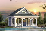Pool cabana has porch and patio bar for great entertaining steps away from the pool