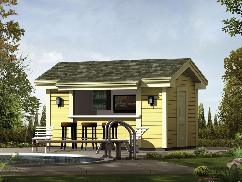 Pool House Cabana Plans: Coolwater Pool Cabana With Bar Plan 009D-7525