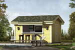 Safety shelter offers a great place during inclement weather with a siding exterior