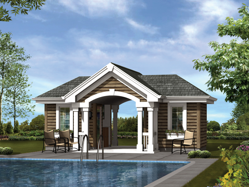 Summersun pool pavilion plan 009d 7527 house plans and more for Small pool house with bathroom