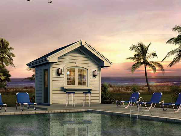 Pool House Cabana Plans: Sunshine Point Pool Cabana Plan 009D-7529