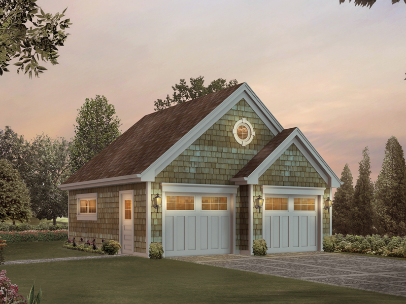 All over shingle siding makes this two-car garage with storage space a classic Cape Cod style