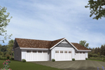 Symmetrical four-car garage has workshop