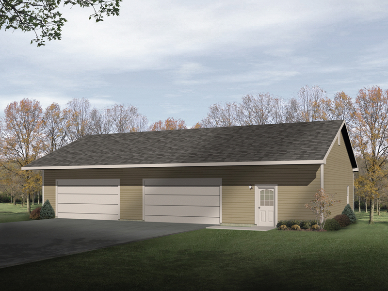 Large four-car garage is a style that would look great with any house plan