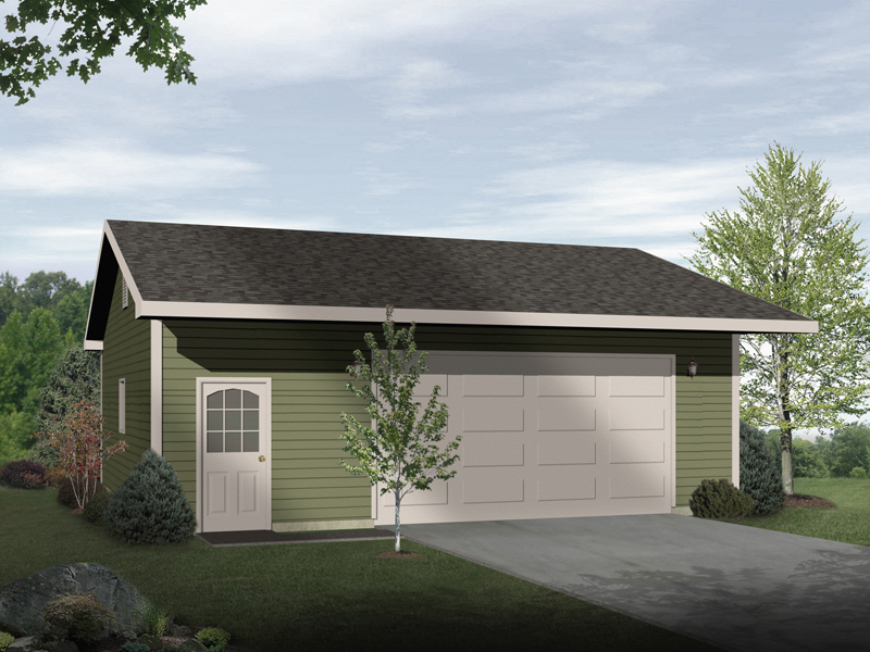 Traditional two-car garage with handy entry door