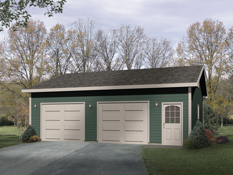 Two-car garage has entry door for convenience