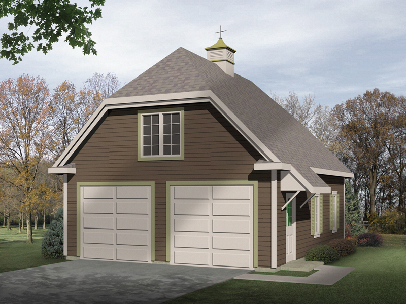 Two-car garage has Country style thanks to the hip roof design and roof cupola