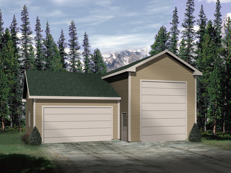 One-car and RV Garage is topped with multiple gables for added interest