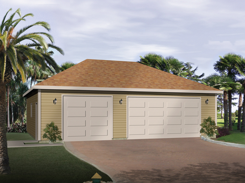 This striking three-car garage design has a attractive hip roof design