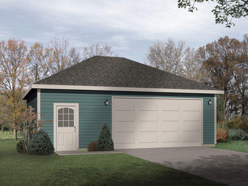 A hip roof design tops this two-car garage