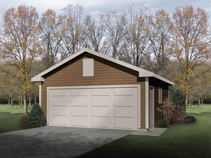Stylish two-car garage has side entry door and window