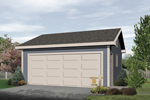 Compact two-car garage is designed for economical building