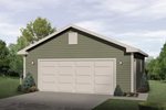 Versatile two-car garage design works great with any style of home plan