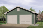 Two-car garage design has two separate garage doors and gabled front roof