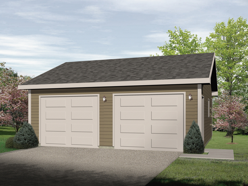 Two-car garage has side entrance for easy accessibility