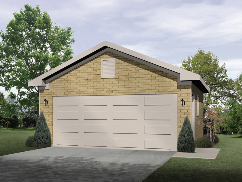 Stylish two-car garage has sturdy brick exterior