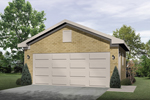 Stylish two-car garage has sturdy brick exterior