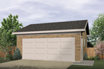 Two-car garage with one large garage door is designed for building efficiency